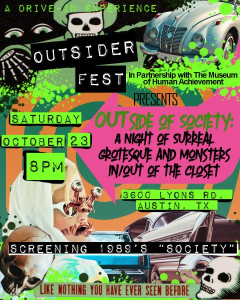 Flyer for OUTsider Fest Outside of Society Drive-In Movie Event on Saturday, October 23